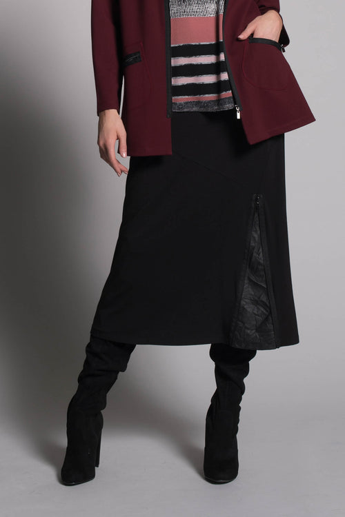 Zipper and Crinkle Trim Long Skirt by picadilly canada