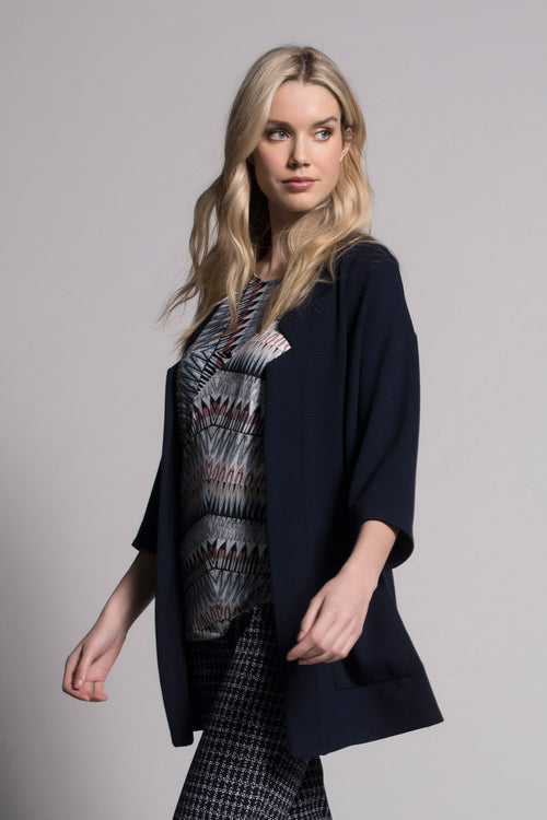 deep navy notched open front jacket with pockets by picadilly