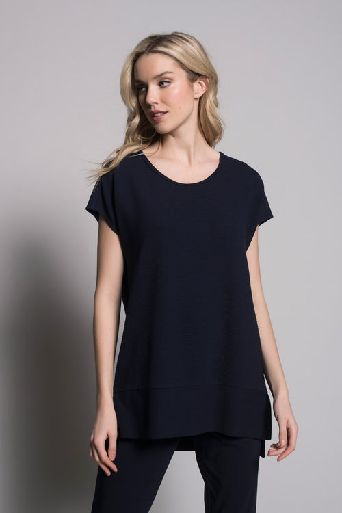 Deep Navy Boxy Top with side slits by Picadilly Canada