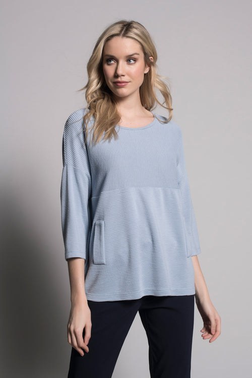 baby blue drop should top with faux pockets by picadilly