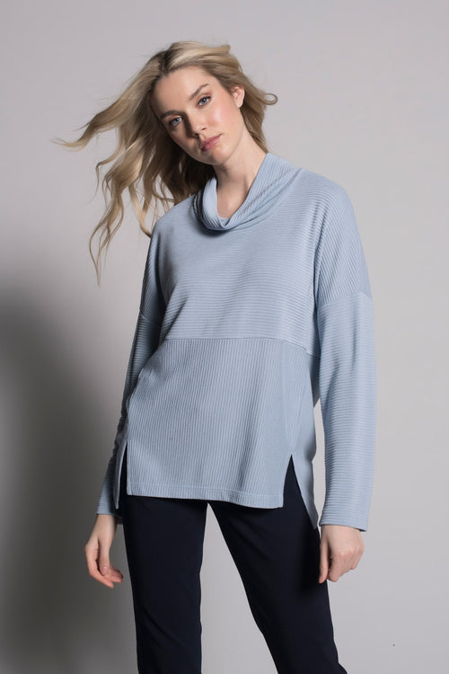 baby blue draped high neck top with slits by picadilly