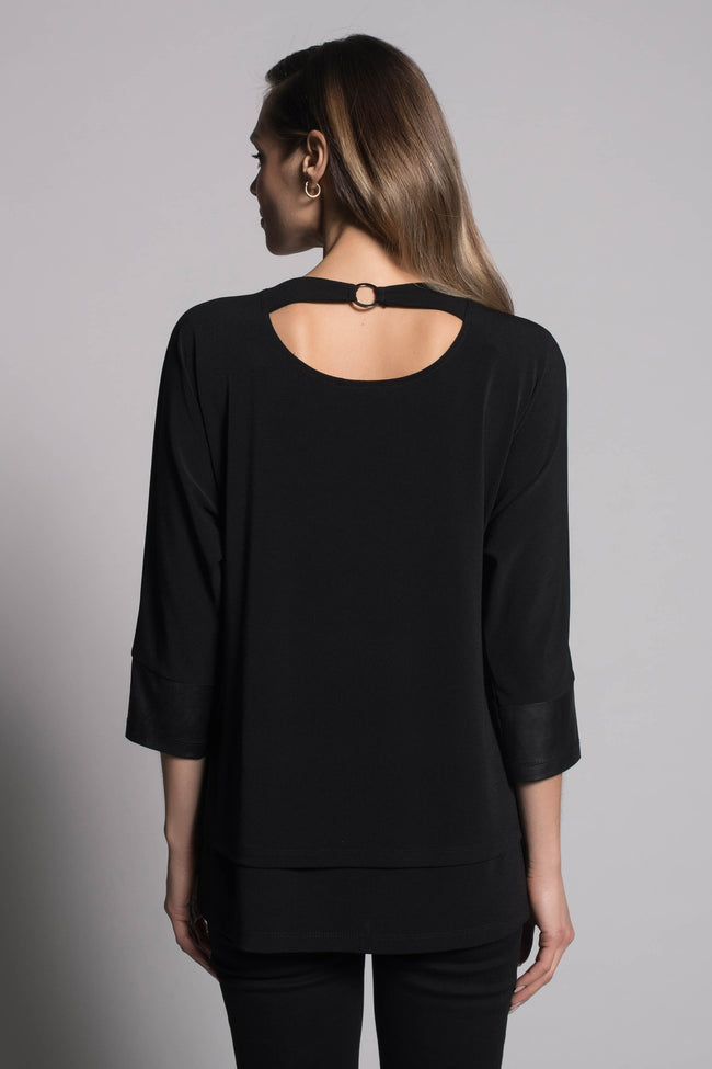 back view of the Layered Top With Pockets by picadilly canada