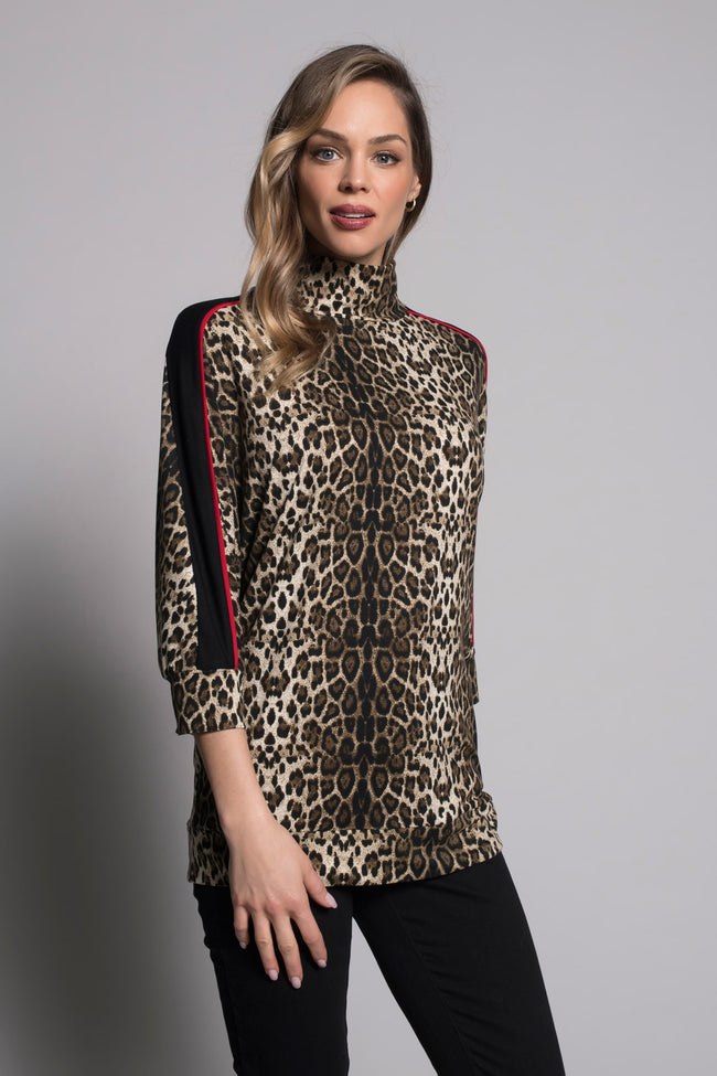 Mock Neck Top With Piping in a leopard print by picadilly canada