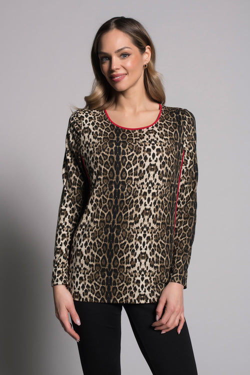 Long Sleeve Crew Neck Top With Piping BY PICADILLY CANADA