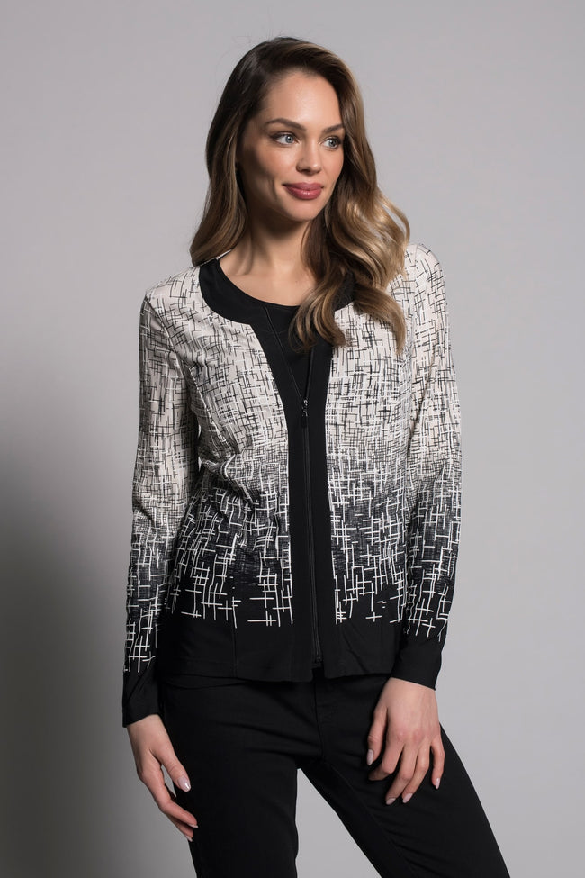 Zip-Front Jacket with a black under shirt by picadilly canada