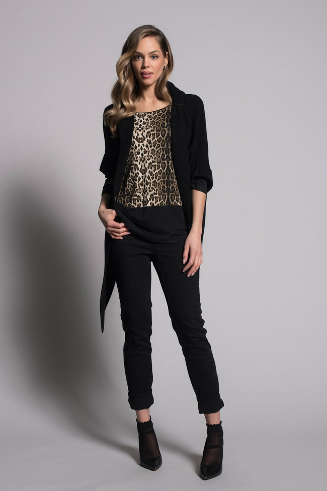 outfit featuring 3/4 Sleeve Solid Trim Top By Picadilly Canada
