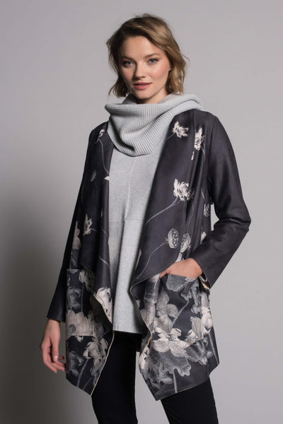 Draped Lapel Open Front Jacket by picadilly canada