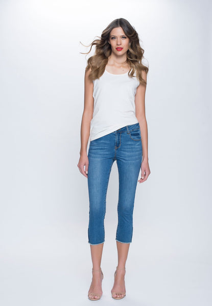 Zip-Trim Denim Capris