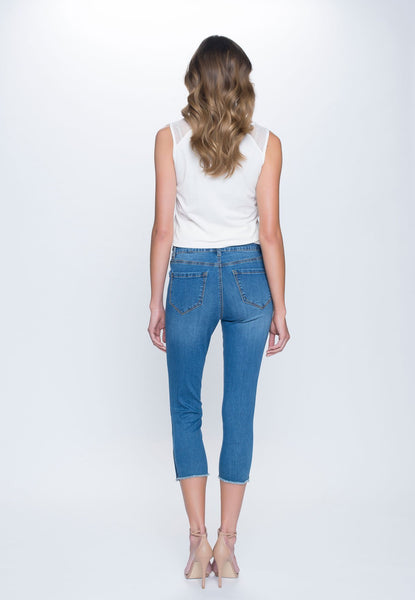 Womens Blue Zip-Trim Denim Capris
