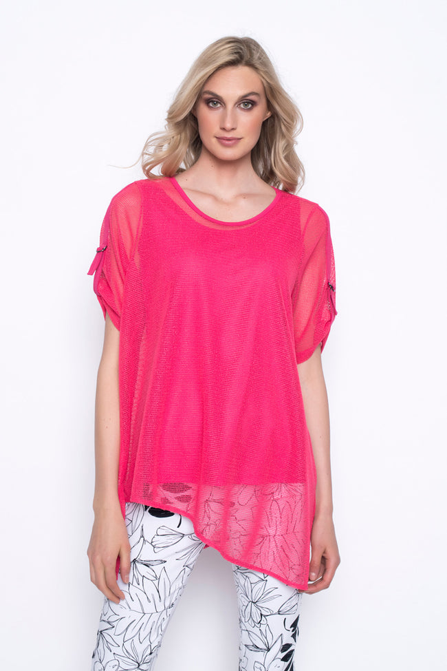 Asymmetric Hem Top With Tape Trim