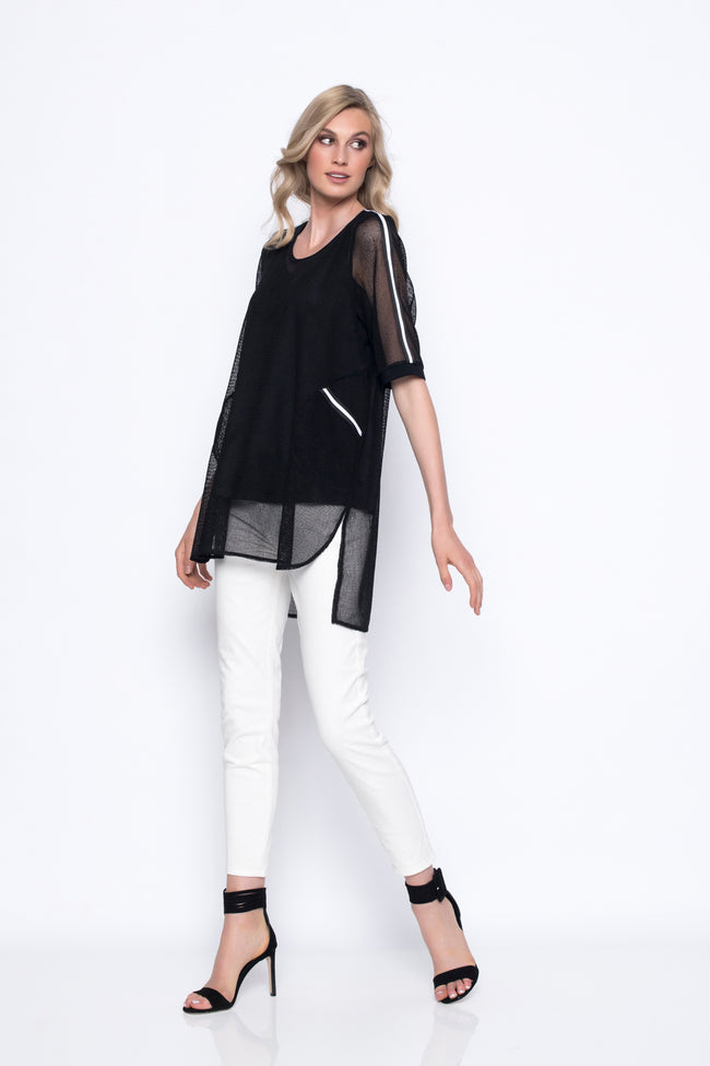 Short Sleeve Top With Stripe Trim