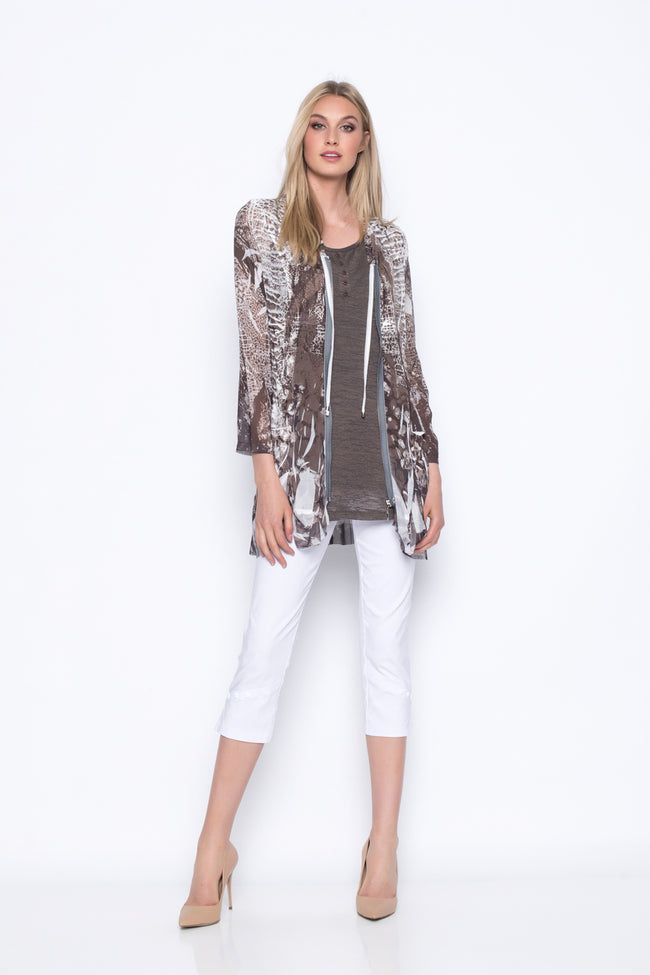 Custom Print Zip-Front Jacket With Pockets paired with white pants