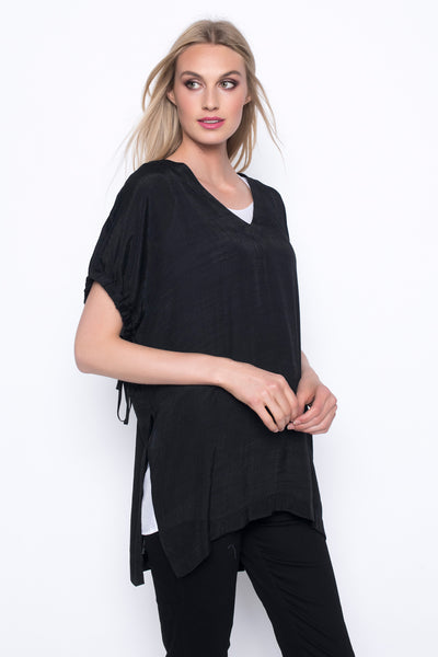 Drawstring Sleeve Layered Top