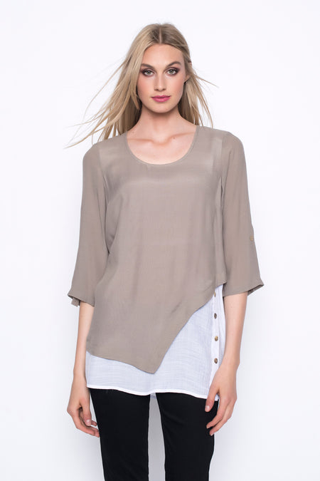Long Sleeve V-Neck Detail Top