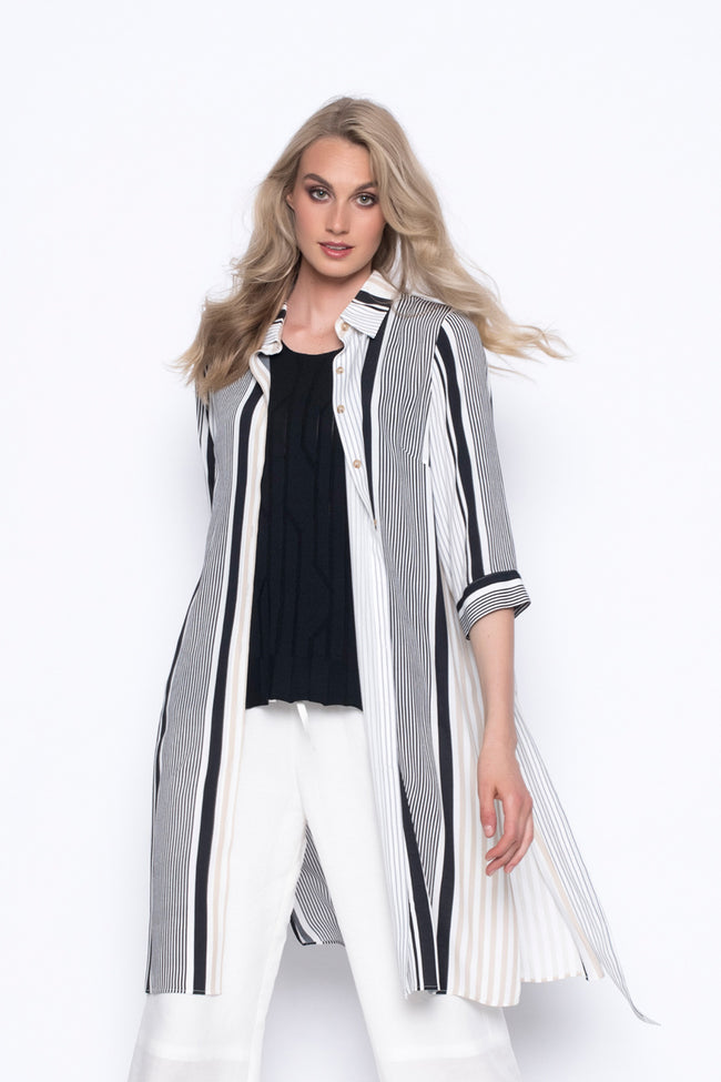 stripe printed over-sized, long button up shirt jacket with tie waist