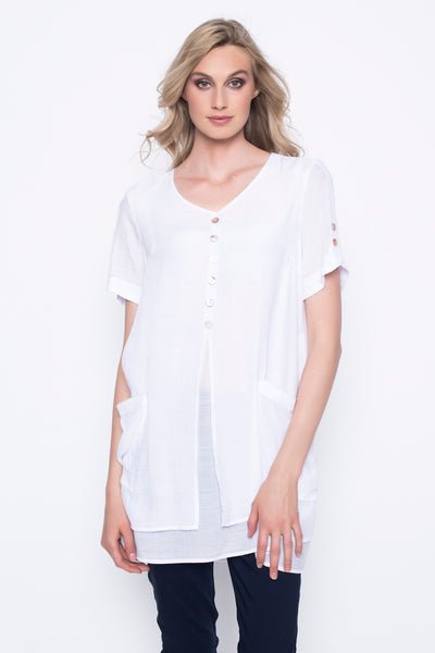 Short Sleeve V-Neck Layered Top