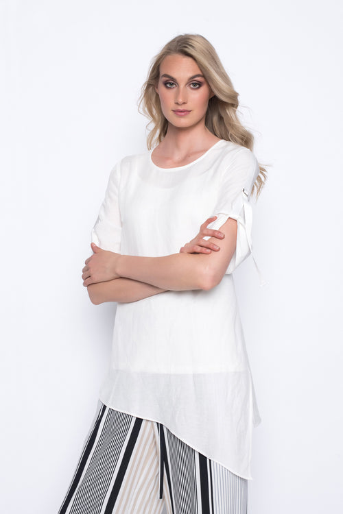 asymmetrical hem top in white
