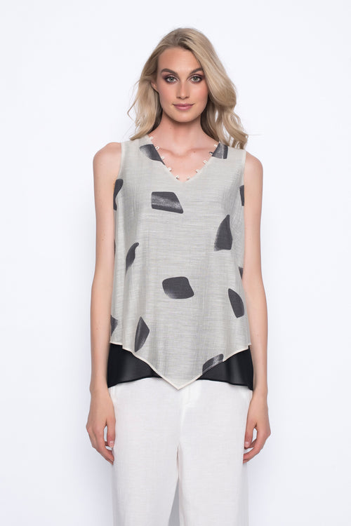 v-neck layered tank top in beautiful print