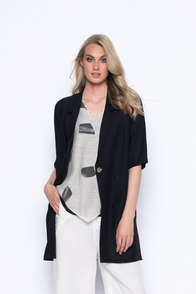 one button blazer jacket lightweight inblack