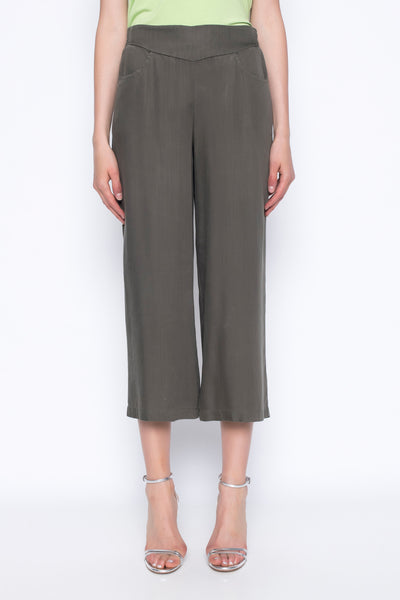 Pull-On Wide Leg Cropped Pants