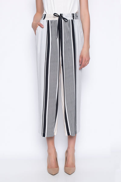 stripe wide leg pants with pockets at side and drawstring waist