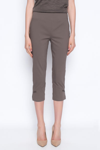cropped pants with button detail in kangaroo