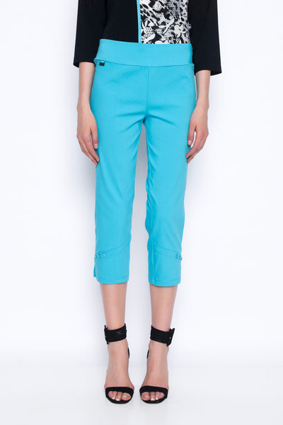 cropped pants with button detail in Hawaiian ocean