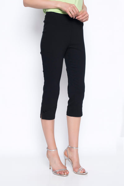cropped pants with button detail in black