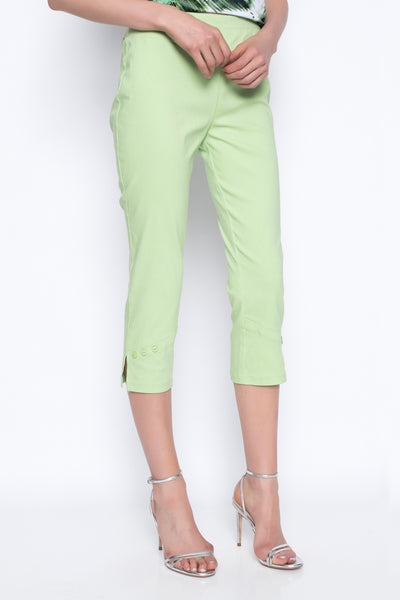 cropped pants with button detail in wild lime