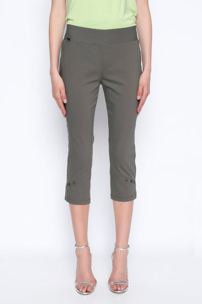 cropped pants with button detail in new olive