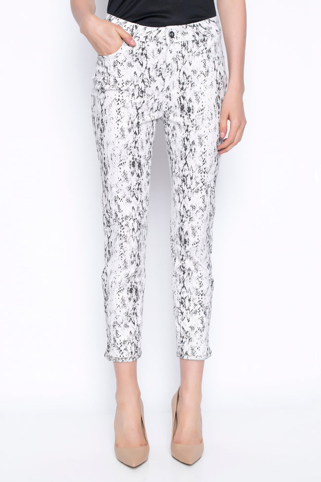 stretchy denim animal print ankle length pant