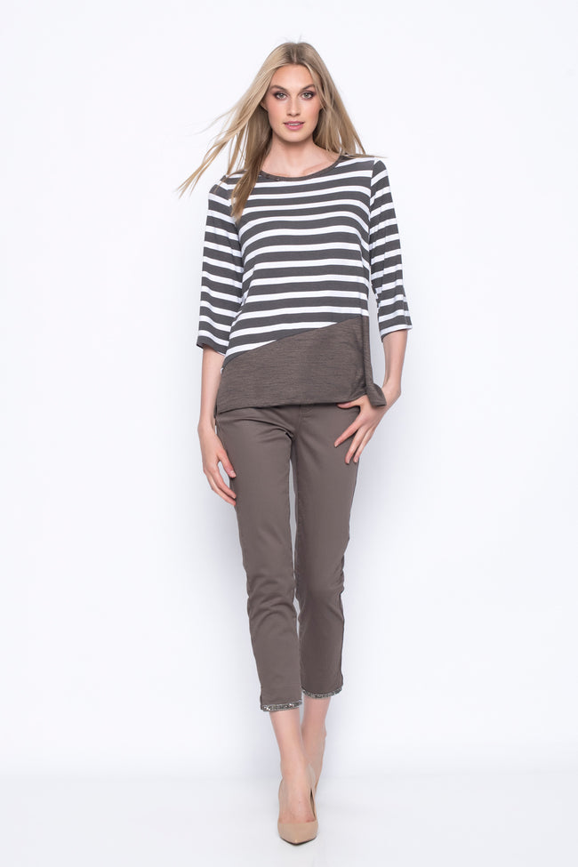 ¾ Sleeve Solid Trim Stripe Top