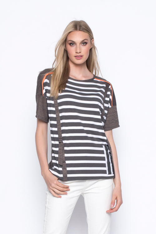 striped Drop Shoulder Top With Pocket