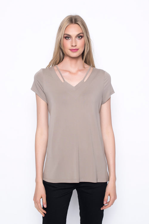 Short Sleeve Top With Neck Line Strap