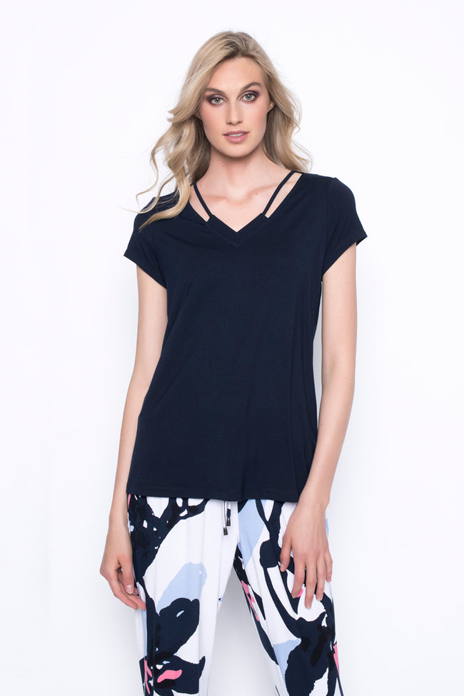 super soft and comfortable short sleeve top with neckline strap