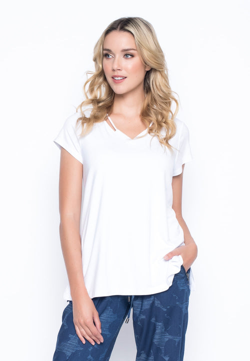 Short Sleeve Top With Neck Line Strap by picadilly canada