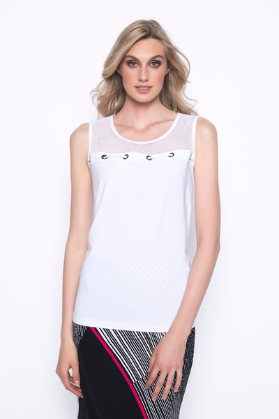Open Knit Yoke Tank With Eyelets