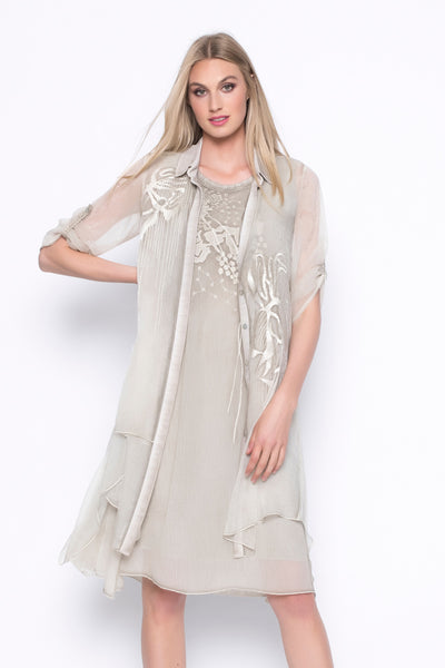 Button-Up Embellished Chiffon Blouse