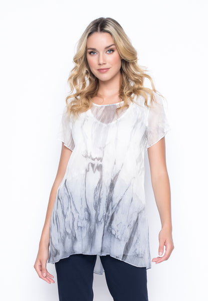 Short Sleeve Custom Print Chiffon Overlay Tunic by Picadilly canada