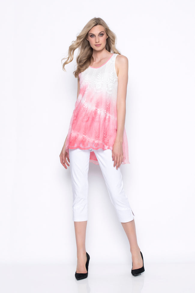 Ombre Embellished Chiffon Overlay Tank