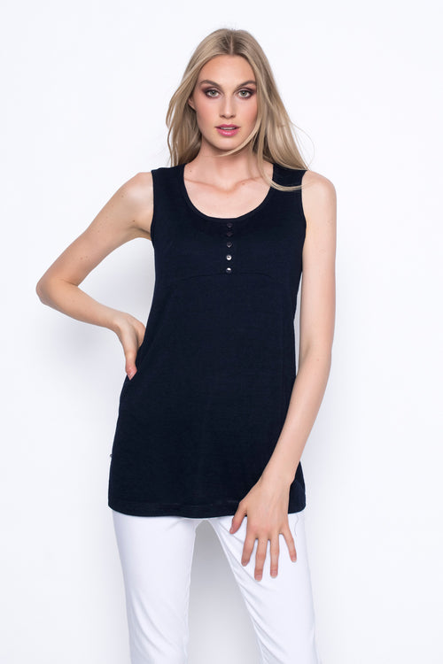 button trimmed tank top in deep navy