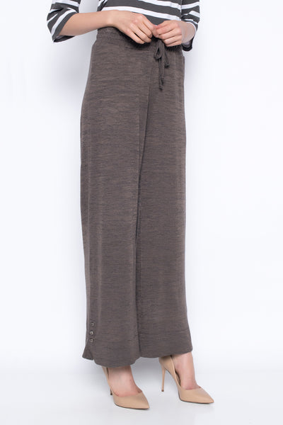 Pull-On Drawstring Wide-Leg Pants in earth