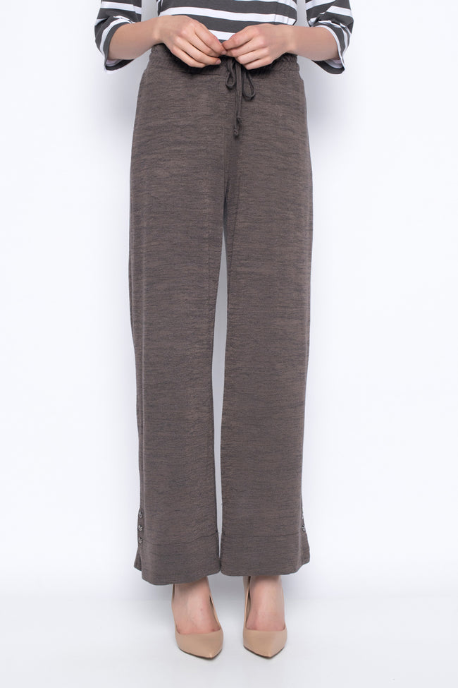 Pull-On Drawstring Wide-Leg Pants in earth front view