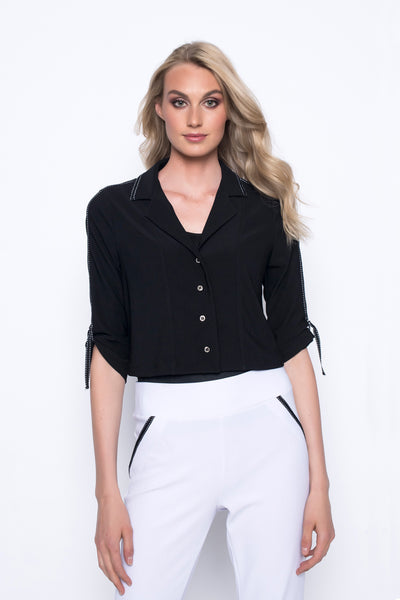 Button-Front Jacket With Trim