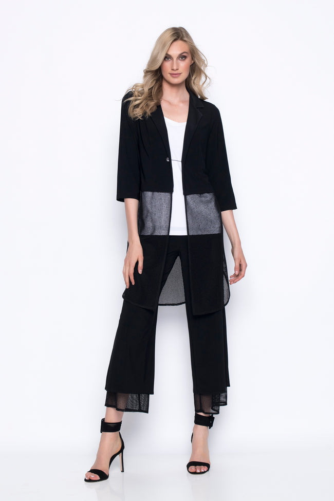 ¾ Sleeve Contrast Trimmed Jacket