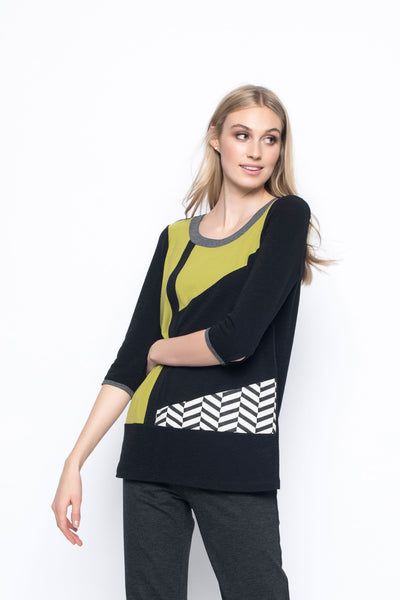 Three Quarter Sleeve Fabric Combo Top