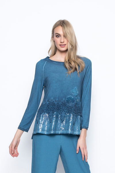 Lace Embellished Top With Sequin