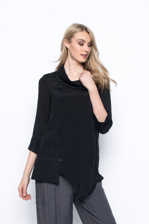 Cowl Neck Top With Pocket