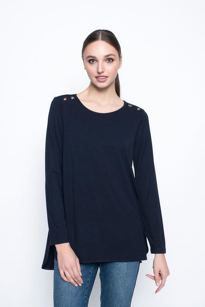 Eyelet Embellished Curved Hem Top