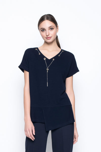 V-Neck Top With Chain